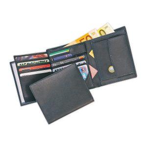 Echtleder-Geldbörse schwarz
